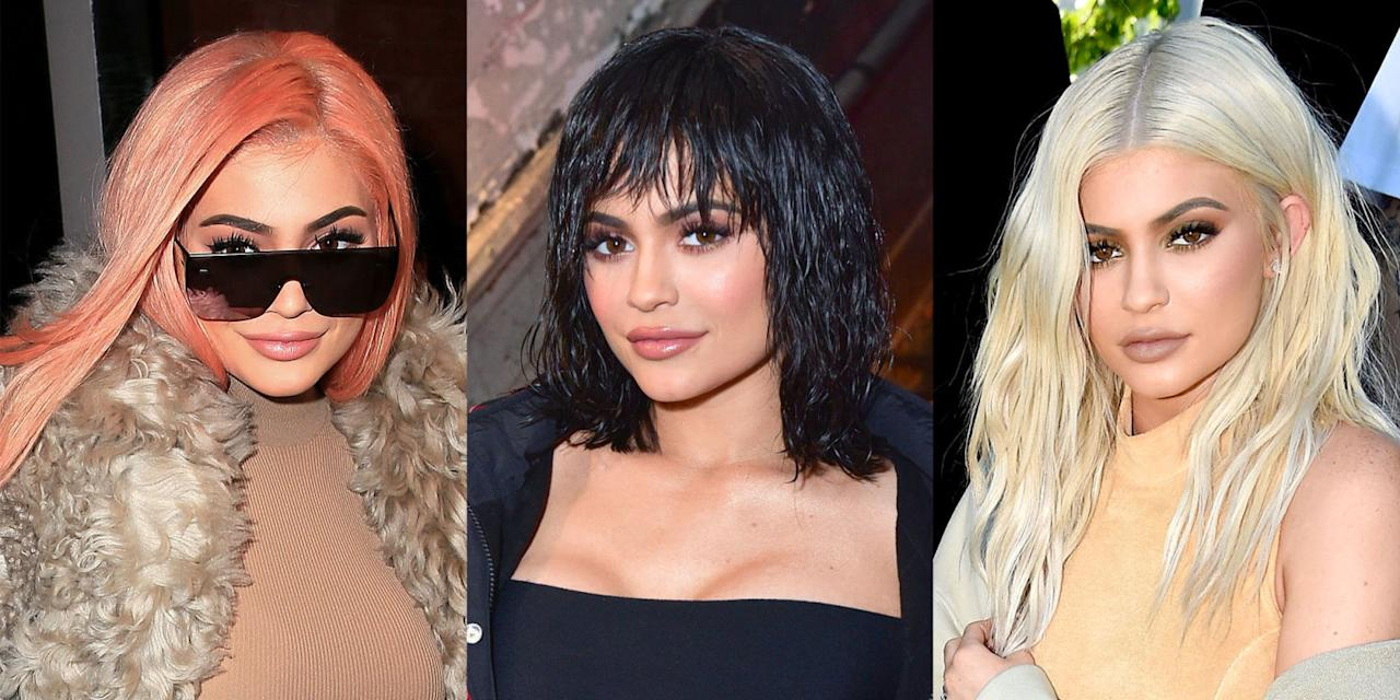 <p>Kylie Jenner is a known chameleon who changes her hair as often as the rest of us change our underwear. Is it a wig? Are those extensions? Does it matter? Click through to see the experimental beauty guru run through the rainbow with her wigs (and natural hair), from jet-black bobs to unicorn braids.<span></span></p>