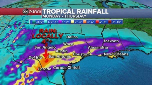 Parts of Texas may see 4 inches of rain through Thursday. (ABC News)