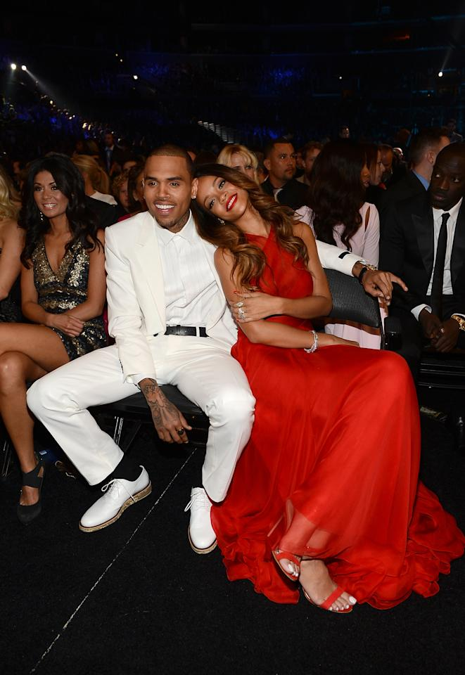 Chris Brown and Rihanna attend the 55th Annual GRAMMY Awards at STAPLES Center on February 10, 2013 in Los Angeles, California.  (Photo by Larry Busacca/WireImage)