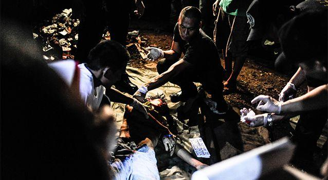 A drug suspect is killed in a shootout during a buy bust operation conducted by police on June 25, 2016 in Manila. Photo: Getty Images/Dondi Tawatao