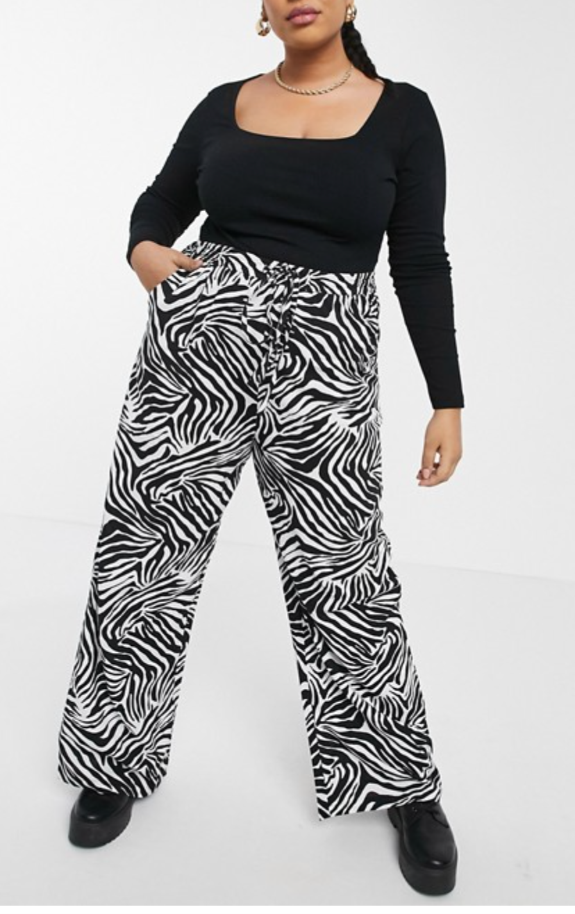 """<h2>ASOS</h2><br><strong>Best For: </strong>Discounted Trendy Styles <br><strong>Size Range: </strong>00-30<br><br>ASOS is the ultimate aggregator of all things fashionable and trendy. It keeps you at the forefront and allows plus people the range and space to experiment at a similar level to our straight-sized counterparts. <br><br>If there is some cool fashion movement or trendy silhouette that you can't find anywhere else, then I'd check here. <br><br><em>Shop <strong><a href=""""https://www.asos.com/us/women/curve-plus-size/cat/?cid=9577"""" rel=""""nofollow noopener"""" target=""""_blank"""" data-ylk=""""slk:ASOS"""" class=""""link rapid-noclick-resp"""">ASOS</a></strong></em><br><br><strong>Native Youth Plus</strong> Very wide leg pants in zebra print, $, available at <a href=""""https://go.skimresources.com/?id=30283X879131&url=https%3A%2F%2Fwww.asos.com%2Fus%2Fnative-youth-plus%2Fnative-youth-plus-very-wide-leg-pants-in-zebra-print%2Fprd%2F22622915"""" rel=""""nofollow noopener"""" target=""""_blank"""" data-ylk=""""slk:ASOS"""" class=""""link rapid-noclick-resp"""">ASOS</a>"""