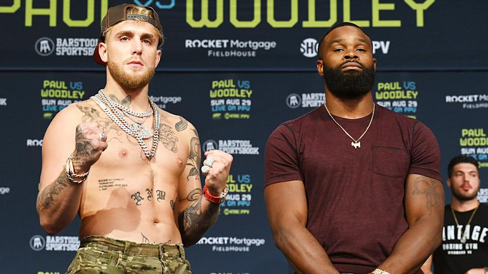 Jake Paul and Tyron Woodley, pictured here at their press conference.