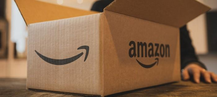 Close-up of a box with an Amazon logo on it.