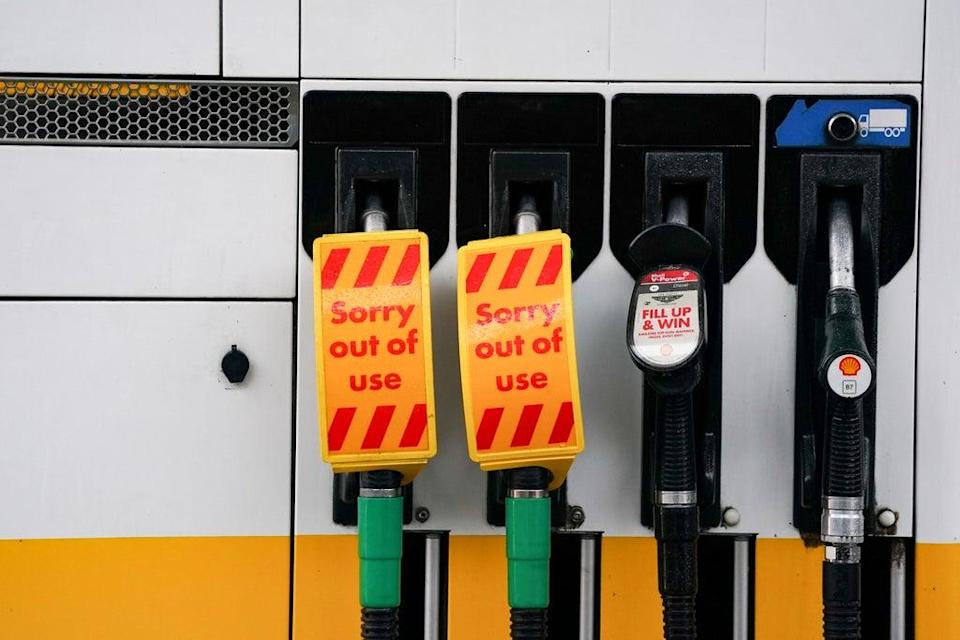 Fuel pumps out of use at a deserted Shell petrol station forecourt in Warwick (Jacob King/PA) (PA Wire)