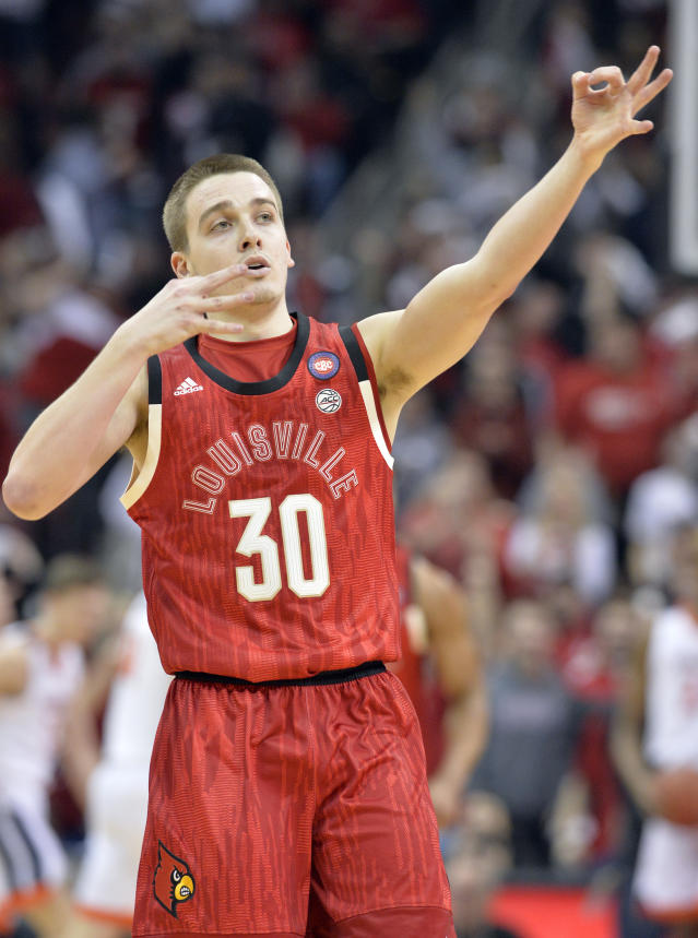 Louisville guard Ryan McMahon (30) reacts after hitting a 3-point shot during the first half of an NCAA college basketball game against Virginia in Louisville, Ky., Saturday, Feb. 23, 2019. (AP Photo/Timothy D. Easley)