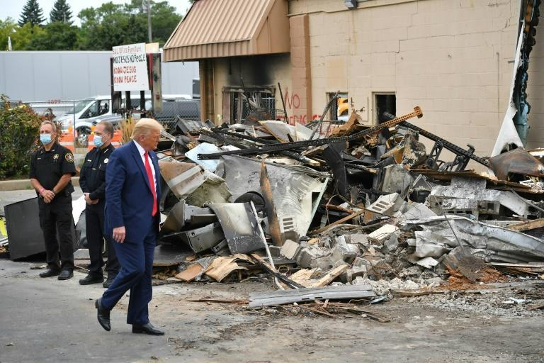 US President Donald Trump surveyed damage from civil unrest in Kenosha, Wisconsin defying Democratic leaders who warned his visit could enflame tensions