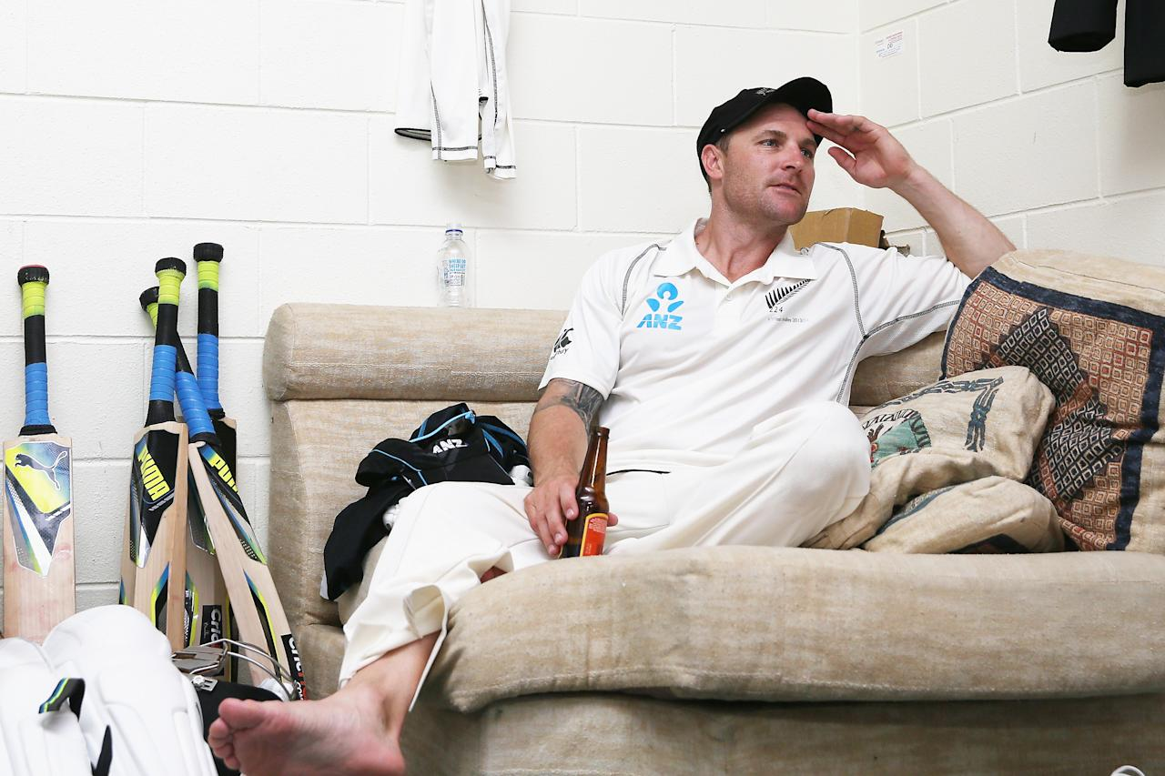 HAMILTON, NEW ZEALAND - DECEMBER 22:  Brendon McCullum of New Zealand celebrates in the dressing room after winning the Third Test match between New Zealand and the West Indies at Seddon Park on December 22, 2013 in Hamilton, New Zealand.  (Photo by Hannah Peters/Getty Images)