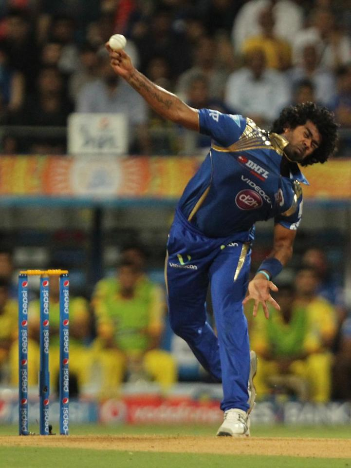 Mumbai: Mumbai Indians bowler Lasith Malinga in action during the first qualifier match of IPL 2015 between Mumbai Indians and Chennai Super Kings at Wankhede Stadium in Mumbai on May 19, 2015. (Photo: Nitin Lawate/IANS)