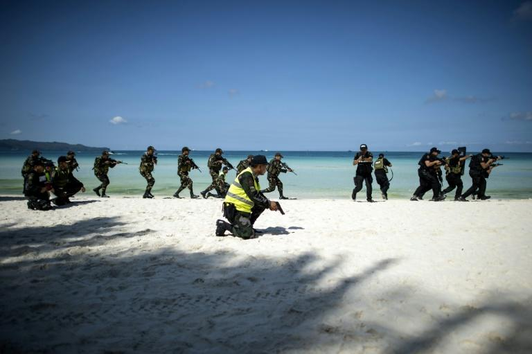 Police on Boracay carried out drills simulating clashes with protesters, terrorist attacks and a hostage incident