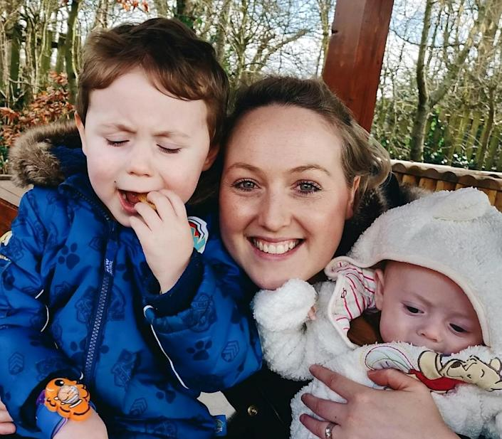 Sarah Boyle with her children Teddy and Louis. [Photo: SWNS]