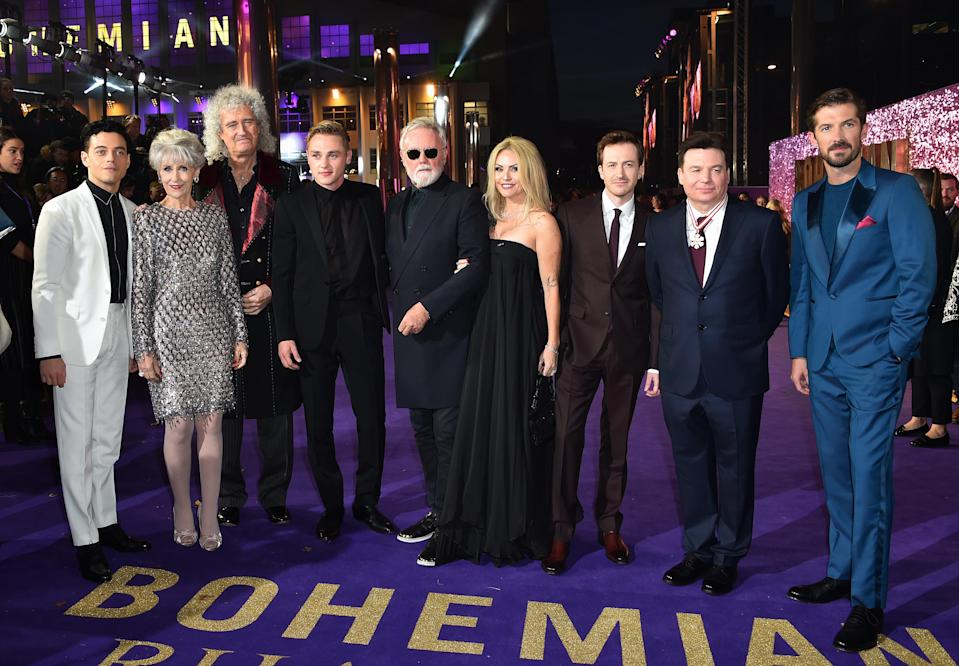 Rami Malek, Anita Dobson, Brian May, Ben Hardy, Roger Taylor, Sarina Potgieter, Joseph Mazzello, Mike Myers and Gwilym Lee attending the Bohemian Rhapsody World Premiere (Matt Crossick/PA)