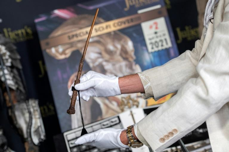 """Daniel Radcliffe's Harry Potter wand from """"Harry Potter and The Gobelet of Fire"""" is seen at the preview of Julien's Auctions Hollywood Sci-Fi, Action Fantasy and More auction in Beverly Hills, California, March 10, 2021"""