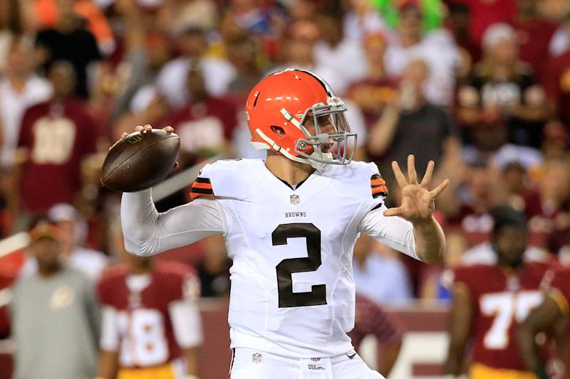 Quarterback Johnny Manziel #2 of the Cleveland Browns during a preseason game against the Washington Redskins on August 18, 2014 in Landover, Maryland