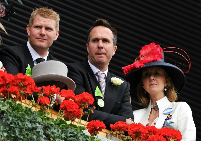 Former England cricket captain Michael Vaughan (C) with ex-teammate Matthew Hoggard (L) pictured at the Royal Ascot horse racing event near Windsor, Berkshire, west of London, on June 15, 2011