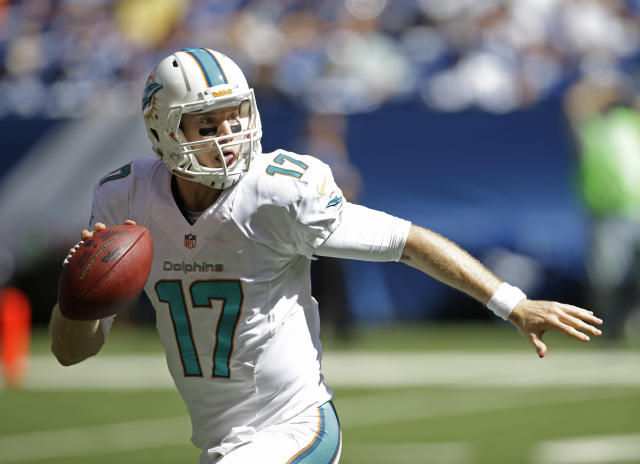 Miami Dolphins' Ryan Tannehill (17) looks to pass during the second half an NFL football game against the Miami Dolphins Sunday, Sept. 15, 2013, in Indianapolis. (AP Photo/AJ Mast)
