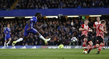 Britain Football Soccer - Chelsea v Southampton - Premier League - Stamford Bridge - 25/4/17 Chelsea's Victor Moses shoots at goal Reuters / Stefan Wermuth Livepic