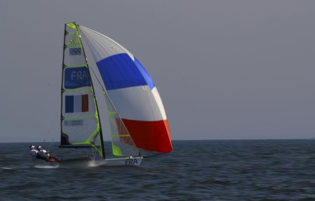 2016 Rio Olympics - Sailing - Preliminary - Men's Skiff - 49er - Race 7/8/9 - Marina de Gloria - Rio de Janeiro, Brazil - 15/08/2016. Julien D'Ortoli (FRA) of France and Noe Delpech (FRA) of Francecompete. REUTERS/Brian Snyder FOR EDITORIAL USE ONLY. NOT FOR SALE FOR MARKETING OR ADVERTISING CAMPAIGNS.