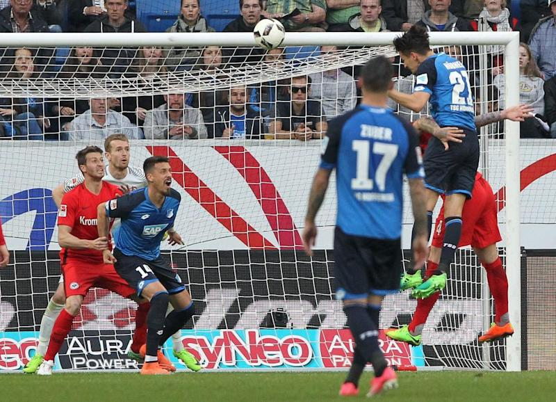 Benjamin Hübner climbs highest to score the only goal of the game against Frankfurt