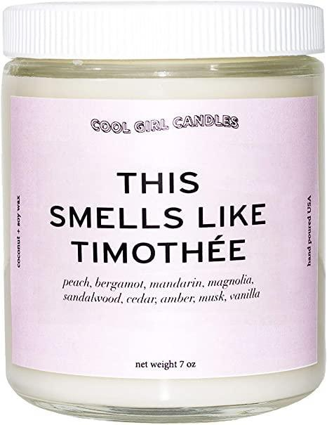 """To cultivate a *Call Me By Your Name–*style hot summer romance, check out Cool Girl's Timothée Chalamet candle. In case you're wondering, it does indeed include a hint of peach. $28, Cool Girl Candles. <a href=""""https://www.amazon.com/Cool-Girl-Candles-Timothee-Fragrance/dp/B088QDYMSD"""" rel=""""nofollow noopener"""" target=""""_blank"""" data-ylk=""""slk:Get it now!"""" class=""""link rapid-noclick-resp"""">Get it now!</a>"""