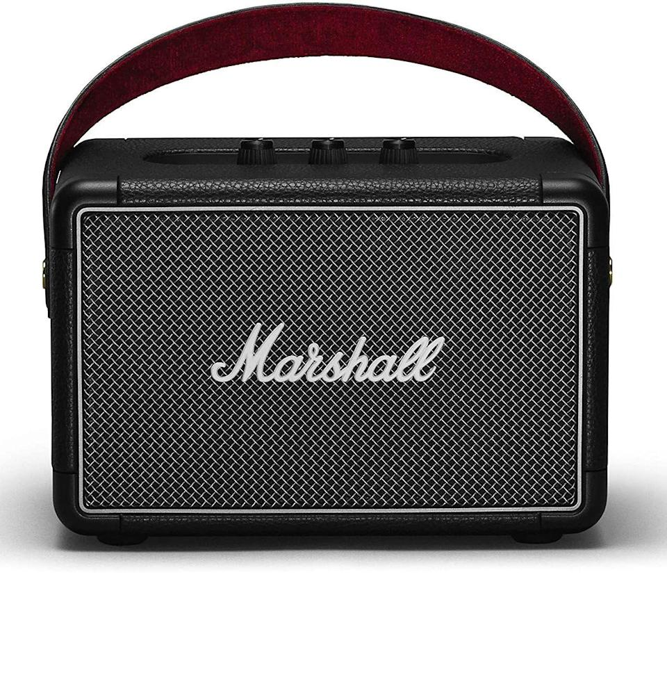 """<p><strong>Marshall</strong></p><p>amazon.com</p><p><strong>$174.99</strong></p><p><a href=""""https://www.amazon.com/dp/B07H7CZ6BZ?tag=syn-yahoo-20&ascsubtag=%5Bartid%7C10054.g.36716381%5Bsrc%7Cyahoo-us"""" rel=""""nofollow noopener"""" target=""""_blank"""" data-ylk=""""slk:Buy"""" class=""""link rapid-noclick-resp"""">Buy</a></p><p>This retro-inspired speaker has considerable style substance.</p>"""