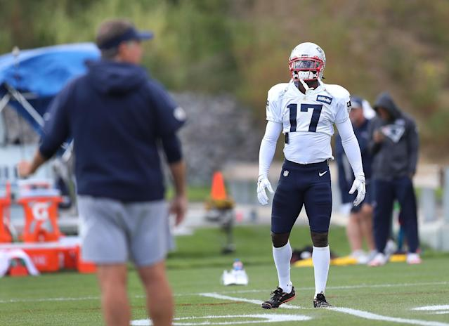 New England Patriots head coach Bill Belichick, left, wanted no part of questions regarding wide receiver Antonio Brown on Friday. (Getty Images)