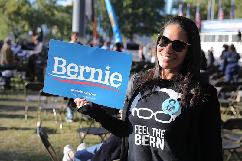 A supporter holds up a sign Vermont senator and Democratic presidential candidate Bernie Sanders as he campaigns at the Bernie's Back Rally in Long Island City, New York on Saturday, Oct. 19, 2019. (Photo: Gordon Donovan/Yahoo News)