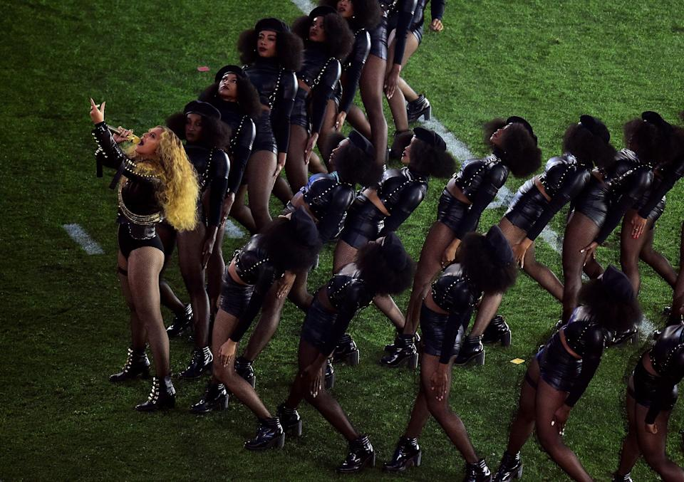 Beyoncé performs during the Super Bowl 50 halftime show on February 7, 2016.