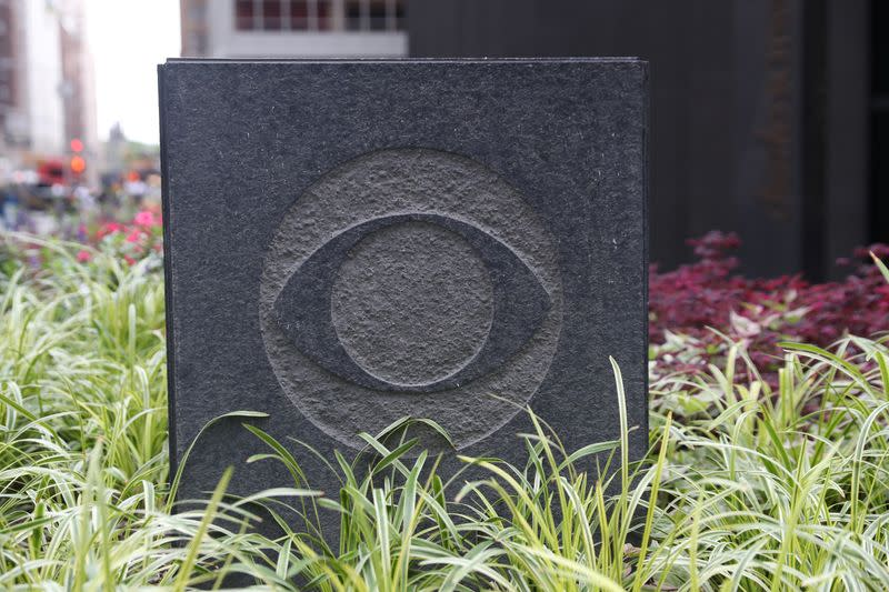 The CBS broadcasting logo is seen outside their headquarters in Manhattan