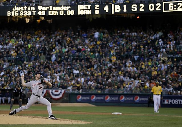 Detroit Tigers pitcher Justin Verlander delivers a pitch in the fourth inning of Game 5 of an American League baseball division series against the Oakland Athletics in Oakland, Calif., Thursday, Oct. 10, 2013. (AP Photo/Marcio Jose Sanchez)