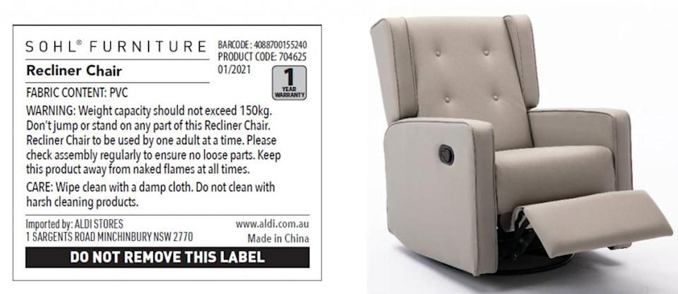 A photo of a beige Aldi recliner chair next to an image of its SOHL FURNITURE label