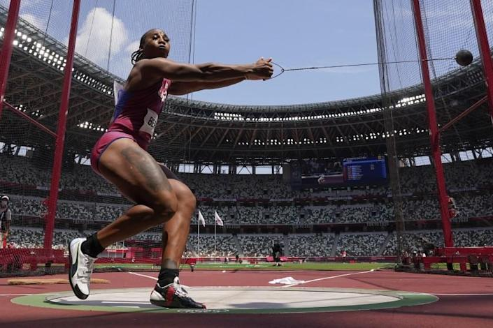 Gwen Berry, of United States, competes in the women's hammer throw.