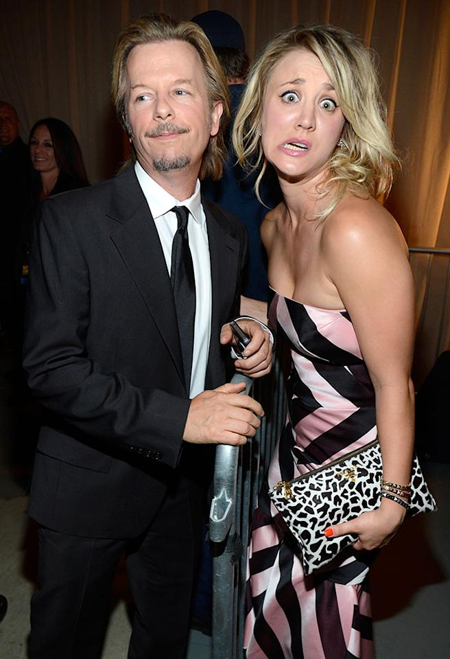 CULVER CITY, CA - JUNE 08:  Actors David Spade and Kaley Cuoco attend the 2013 Spike TV Guys Choice at Sony Pictures Studios on June 8, 2013 in Culver City, California.  (Photo by Kevin Mazur/WireImage)