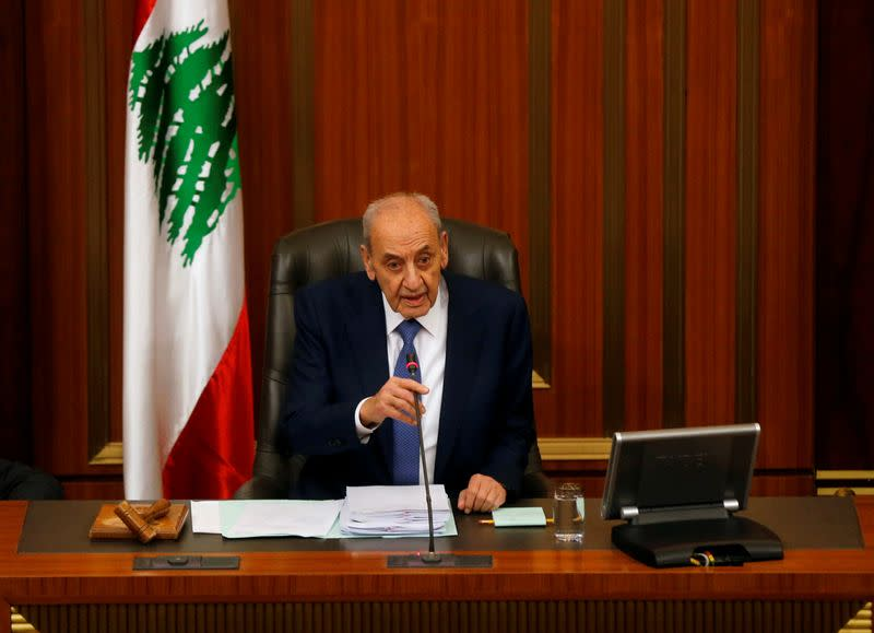 FILE PHOTO: Lebanese Speaker of the Parliament Nabih Berri attends a parliament session at the parliament building in downtown Beirut