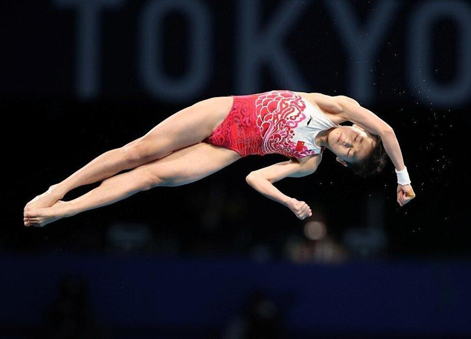 """Quan Hongchan – adopted as """"Little Sister"""" by online fans – competes in the women's 10m platform final at the Tokyo Olympics. Photo: Reuters"""