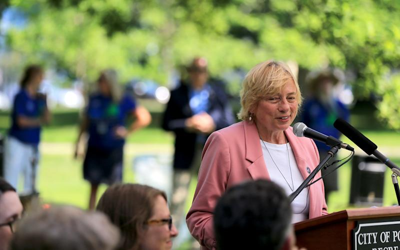 PORTLAND, ME - JULY 30: Gov. Janet Mills speaks during a ceremony kicking off Maine's bicentennial in Deering Oaks. Mills attended four such events throughout the state on Tuesday. (Staff photo by Ben McCanna/Portland Portland Press Herald via Getty Images)