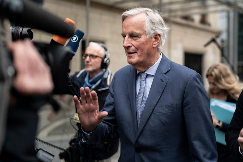 EU Brexit negotiator Michel Barnier arrives at the EU headquarters in Brussels on October 11, 2019 for a meeting with EU ambassadors. (Photo by Kenzo TRIBOUILLARD / AFP) (Photo by KENZO TRIBOUILLARD/AFP via Getty Images)