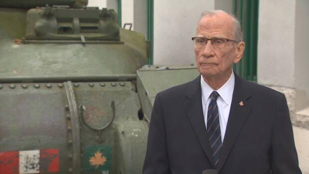 For many years, Cam Cathcart was the organizer and master of ceremonies of Vancouver's main Remembrance Day ceremony held at Victory Square. (Martin Diotte/CBC - image credit)