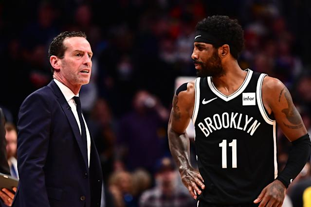 The Nets have gone 9-4 with Kyrie Irving out because of a right shoulder impingement. (Ron Chenoy-USA TODAY Sports)