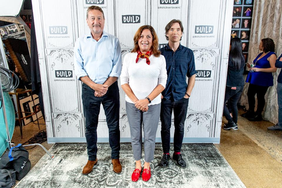 "NEW YORK, NEW YORK - OCTOBER 02: Steven Knight, Caryn Mandabach and Cillian Murphy  discuss ""Peaky Blinders"" with the Build Series at Build Studio on October 02, 2019 in New York City. (Photo by Roy Rochlin/Getty Images)"