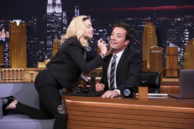 Madonna during an interview with Jimmy Fallon, on Sept. 25, 2017, in New York City. (Photo: Andrew Lipovsky/NBC/Getty Images)