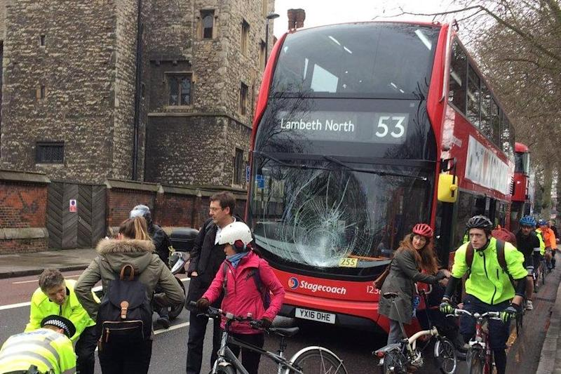 Crash: Pedestrian fights for life after being hit by bus in Lambeth: Twitter/@ShoebridgeC