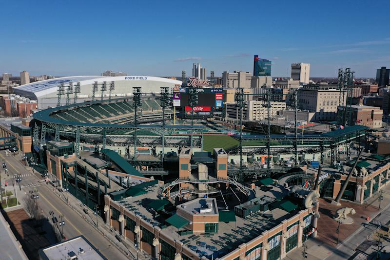 DETROIT, MICHIGAN - MARCH 14: Aerial view of Comerica Park from a drone on March 14, 2020 in Detroit, Michigan. (Photo by Gregory Shamus/Getty Images)