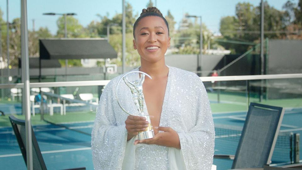 Naomi Osaka is seen here with her Laureus Sportswoman of the Year award.