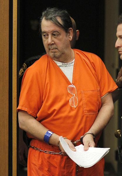 """FILE - In this May 8, 2012 file photo, John Donald Cody, aka Bobby Thompson, appears at a hearing in Cuyahoga County Court in Cleveland. U.S. Marshal Pete Elliott said the man who identified himself as Bobby Thompson and signed legal papers as """"Mr. X"""" is really John Donald Cody, 65, whose true identity was uncovered through 1969 military fingerprints that didn't make it into the national crime system. (AP Photo/Amy Sancetta, File)"""