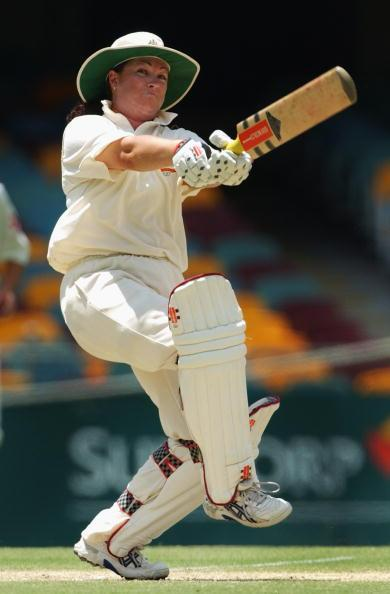 BRISBANE - FEBRUARY 17:  Karen Rolton of Australia in action against England during day three of the women's First Ashes Test played between Australia and England at the Gabba in Brisbane, Australia on February 17, 2003. (Photo by Darren England/Getty Images)