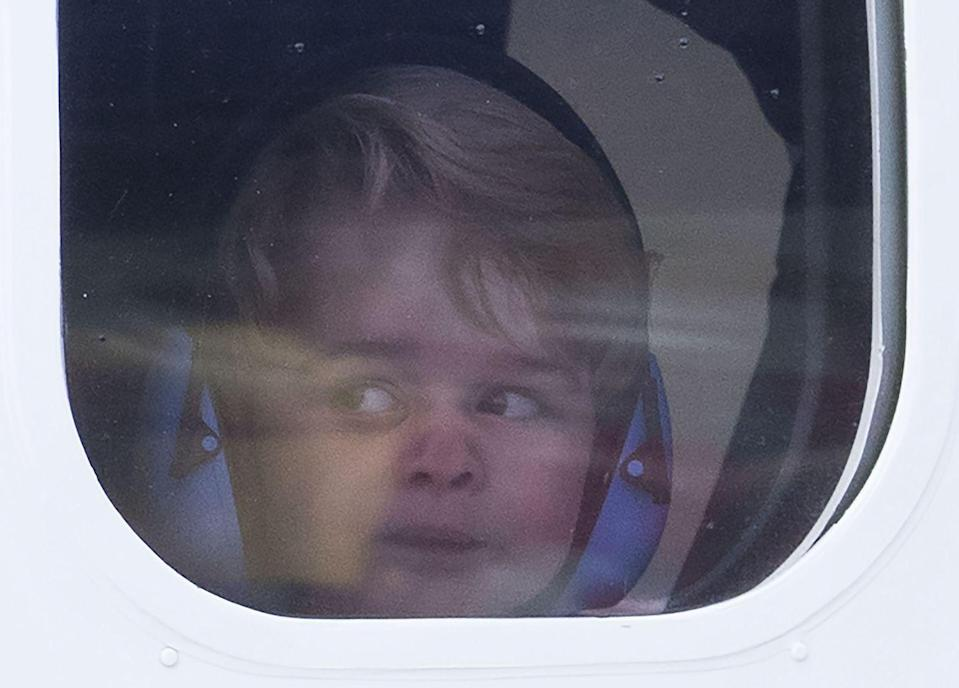 <p>He takes a moment to really absorb it all from inside the plane.</p>