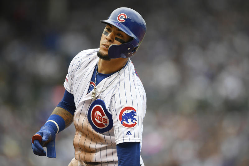 Chicago Cubs' Javier Baez reacts after being forced out at first base during the fifth inning of a baseball game against the Milwaukee Brewers, Sunday, Sept. 1, 2019, in Chicago. (AP Photo/Paul Beaty)