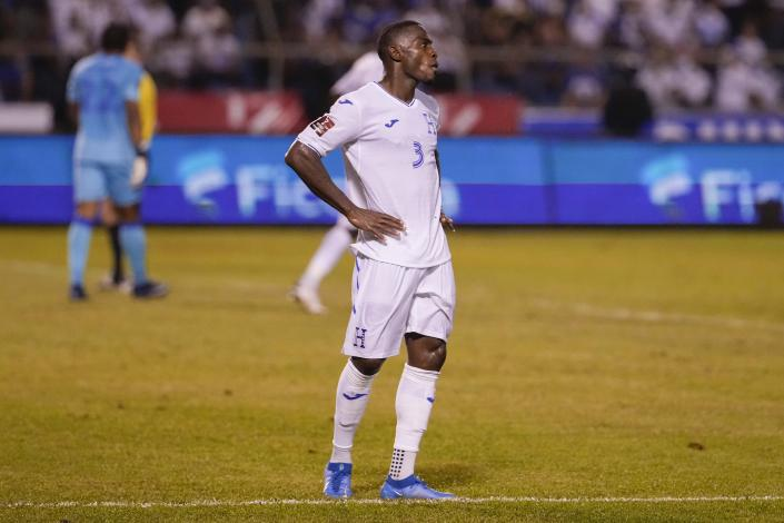 Honduras' Maynor Figueroa reacts after United States' Brenden Aaronson scoring his side's third goal during a qualifying soccer match for the FIFA World Cup Qatar 2022 in San Pedro Sula, Honduras, Wednesday, Sept. 8, 2021. (AP Photo/Moises Castillo)