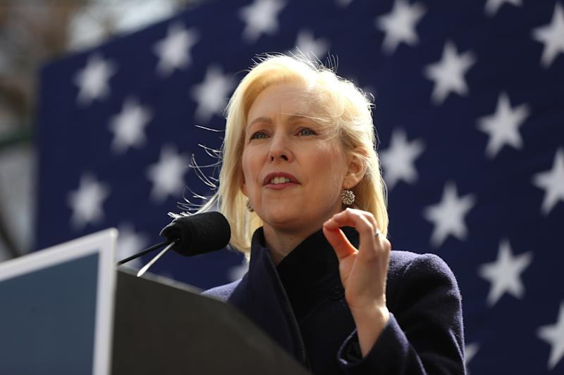 Sen. Kirsten Gillibrand (D-N.Y.) speaks during a rally in front of Trump International Hotel in New York City on March 24. (Anadolu Agency/Getty Images/Atilgan Ozdil)