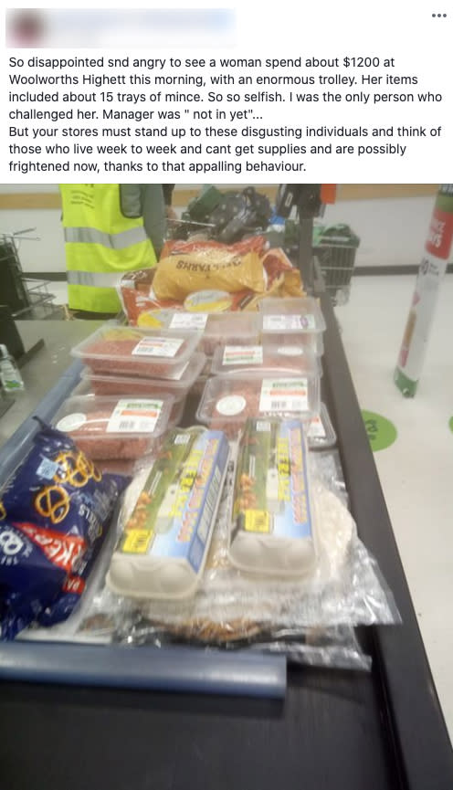 A Facebook post of a woman complaining after another Woolworths shopper was spotted doing a large grocery shop.